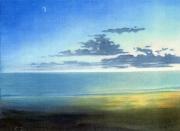 tableau paysages ocean atlantique plage nuages soleil du soir : Soir sur l'Atlantique