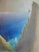 tableau scene de genre capri falaise femme voilier : Au revoir et bon vent !