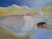 tableau nus femme nue dunes sensualite erotisme : Femme au désert