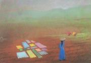 tableau paysages inde campagne linge chaleur : Campagne indienne