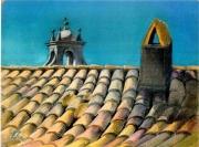 tableau architecture toiture ensoleillee tuiles provence clocher : Tuiles à Grignan