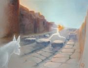 tableau scene de genre pompei voie pavee femme dansante soir tombant : Holà, passage à gué !