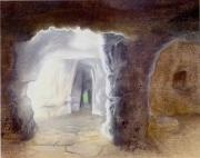 tableau architecture caverne rupestre italie lueur : Caverne