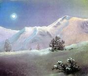 tableau paysages clair de lune montagne neige lueur magique : Clair de lune en montagne