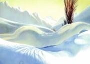 tableau nus femme nue neige solei erotisme : Dans la neige
