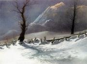 tableau paysages neige soleil montagne : Neige au soleil