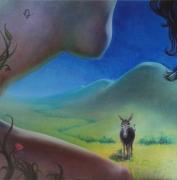 tableau scene de genre femme nue ane ete erotisme : L'âne et la femme