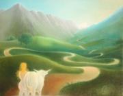 tableau scene de genre pyrenees femme nue route balaitous : En route vers les cimes