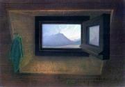 tableau paysages fenetre mansardee montagne pyrenees ciel bleu : Par le fenestrou