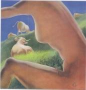 tableau nus femme nue vaches prairies erotisme : Les vaches et la femme