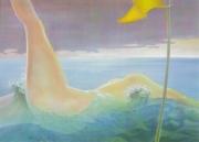tableau nus femme nue vagues fanion erotisme : Sur la mer