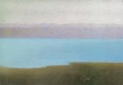 tableau paysages israel rives mer morte lointaines montagnes paysage biblique : La Mer morte