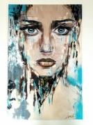 tableau femme bleu art contemporain : Enigma