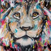 tableau animaux lion : Regard d'un roi