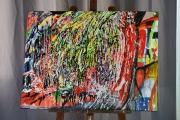 tableau abstrait pluie tropicale couleurs peinture : Pluie Tropicale