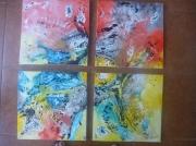 tableau abstrait 4 toiles x 1 incrustations technique mixte orientation : Orientation