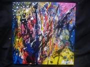 tableau abstrait anda abstrait peinture ocean : Corail Bleu