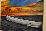 tableau barquebateaux coucher de soleil joky kamo peinture ,a l hu : coucher de soleil