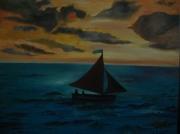 tableau paysages peinture coucher de peinture tableau ,a l huile joky kamo : peinture coucher de soleil