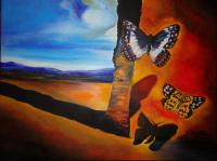 tableau peinture paysage aux papillons