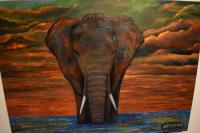 tableau peinture d'éléphant