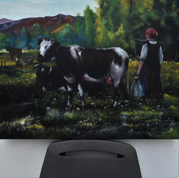 TABLEAU PEINTURE Paysages Peinture a l'huile  - vaches Peinture par joky kamo