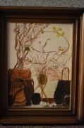 tableau fleurs fleur peinture ,a l hu sur toile joky kamo : tableau peinture fleurs