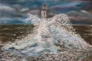 tableau paysages tempete ar men phare : tempête sur Ar men