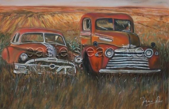 TABLEAU PEINTURE american junk champ voiture Paysages Pastel  - American Junk