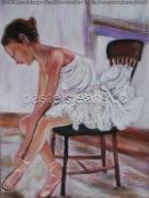 tableau scene de genre danseuse preparant chaise tutu : Danseuse se préparant