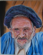 tableau personnages afghan vieux homme turban : un vieil Afghan