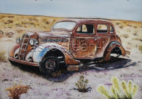 TABLEAU PEINTURE desert épave voiture Paysages  - Désert et mécanique