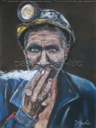 tableau personnages mineur fumant casque charbon : Un mineur fumant