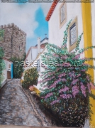 tableau paysages ruelle obidos portugal : ruelle d'Obidos