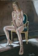 tableau nus nu fauteuil mansarde : Nu dans la mansarde