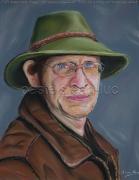 tableau personnages homme chapeau vert portrait : Homme au chapeau vert