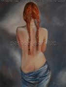 tableau nus rousse couettes nu pastel : Natalia