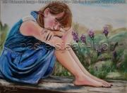 tableau personnages fille petite jardin ennui : une petite fille qui s'ennuie