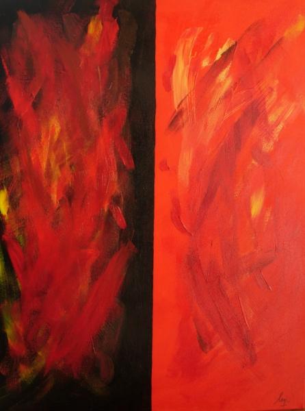 TABLEAU PEINTURE Abstrait Acrylique  - Ying/Yang