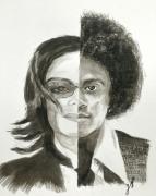 tableau personnages lavis michael jackson five : Michael J (avant/après)