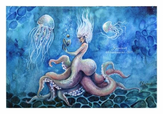 DESSIN oeuvre eau pieuvre meduses Personnages Aquarelle  - Marine
