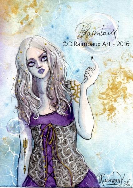 DESSIN bulle gothique art aquarelle Personnages Aquarelle  - Dans ma Bulle