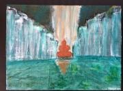 tableau autres zen cascade eau bouddha : Méditation