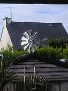 sculpture paysages jardin deco : éolienne metal