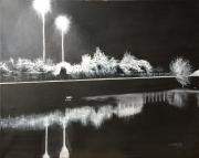 tableau paysages paysage nocturne maritime : Paysage nocturne sur l'eau
