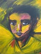 """tableau personnages portrait regard garcon : portrait acrylique """"le garçon"""""""