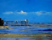 tableau marine : Pêcherie au carrelet sur la côtes charentaise 1