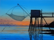 tableau marine : Coucher de soleil sur une pêcherie au carrelet à Pornic