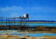 tableau marine : Pêcherie au carrelet sur la côtes charentaise 2