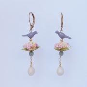 bijoux fleurs boucles d oreil fleur oiseau : 6